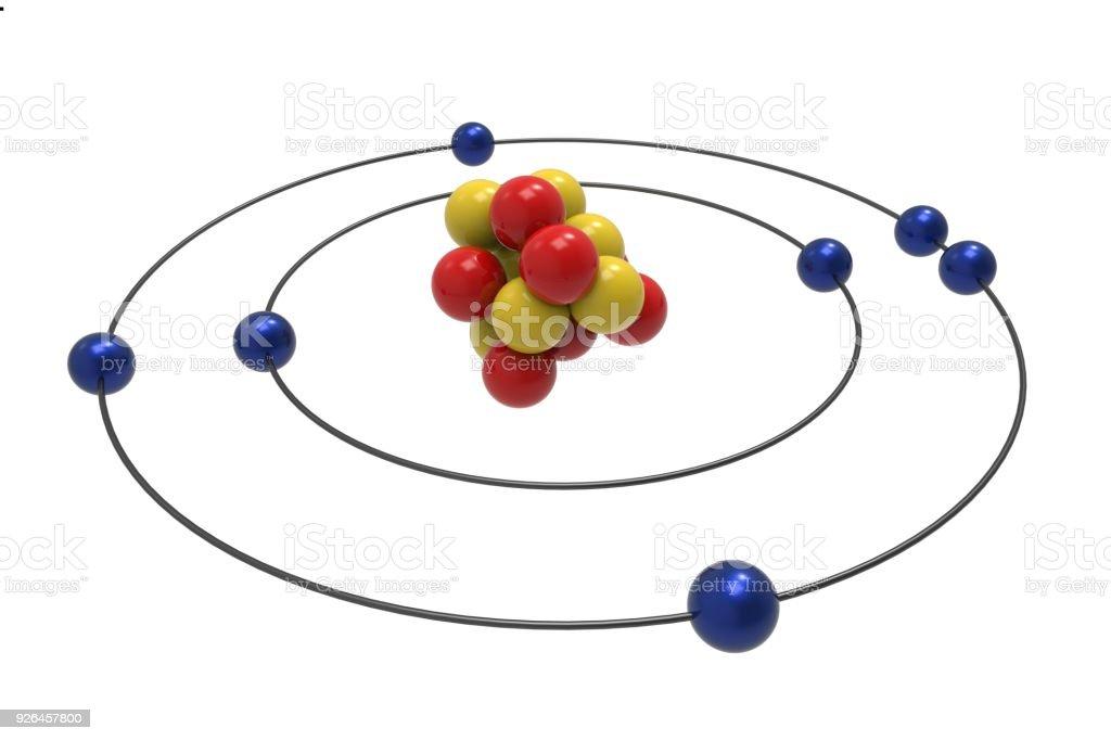 Bohr Model Of Nitrogen Atom With Proton Neutron And Electron Stock