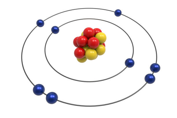 Bohr model of Oxygen Atom with proton, neutron and electron stock photo