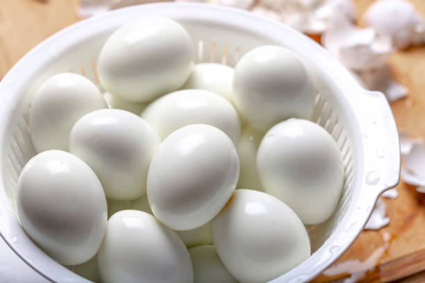 Boiled and Peeled Eggs stock photo
