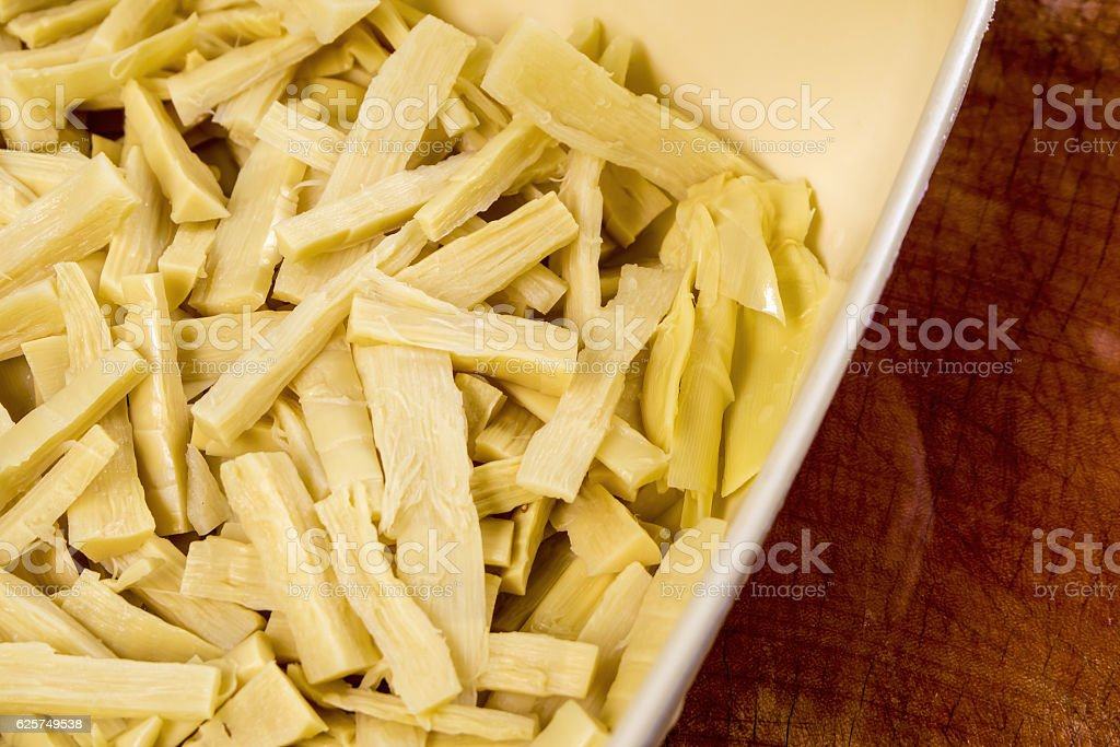 Boiled bamboo shoots, sliced and teared stock photo
