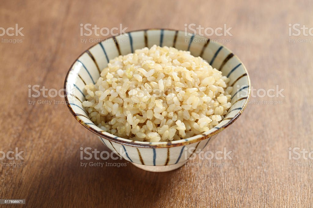 boiled brown rice stock photo