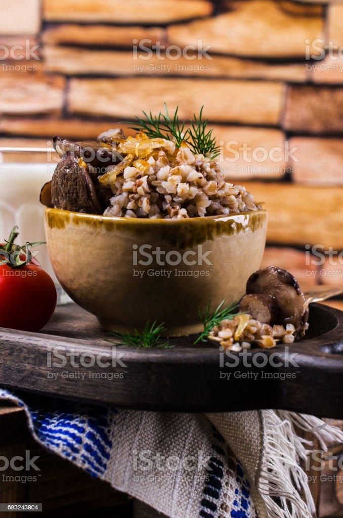 보일드 메밀, 버섯 royalty-free 스톡 사진