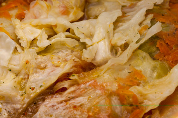 Boiled cabbage, stuffed cabbage in a pot
