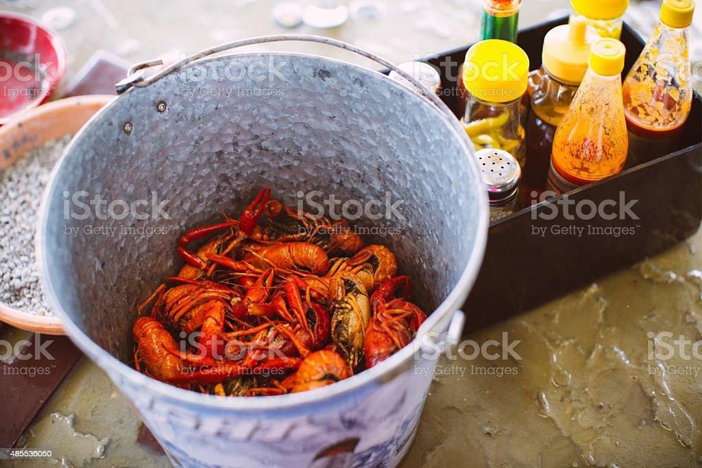 Boiled Cajun Crawfish stock photo