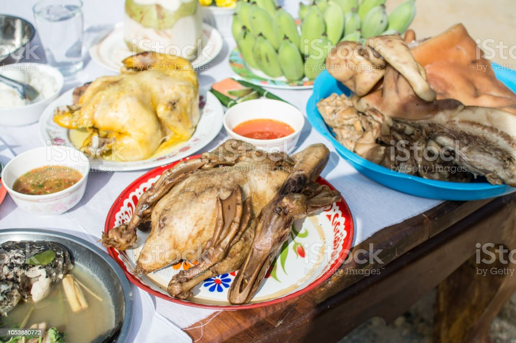 Boiled chicken and pork for worshipping the shrine of city pillar stock photo