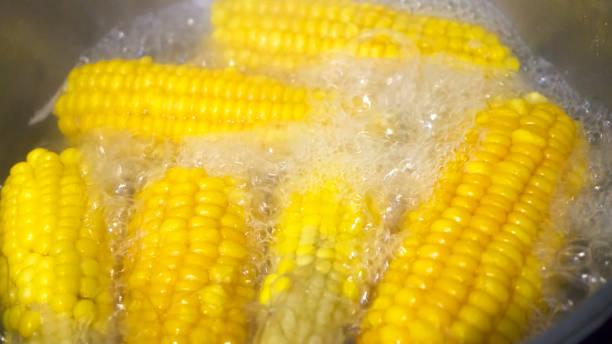 Gekochten Mais in heißem Wasser – Foto