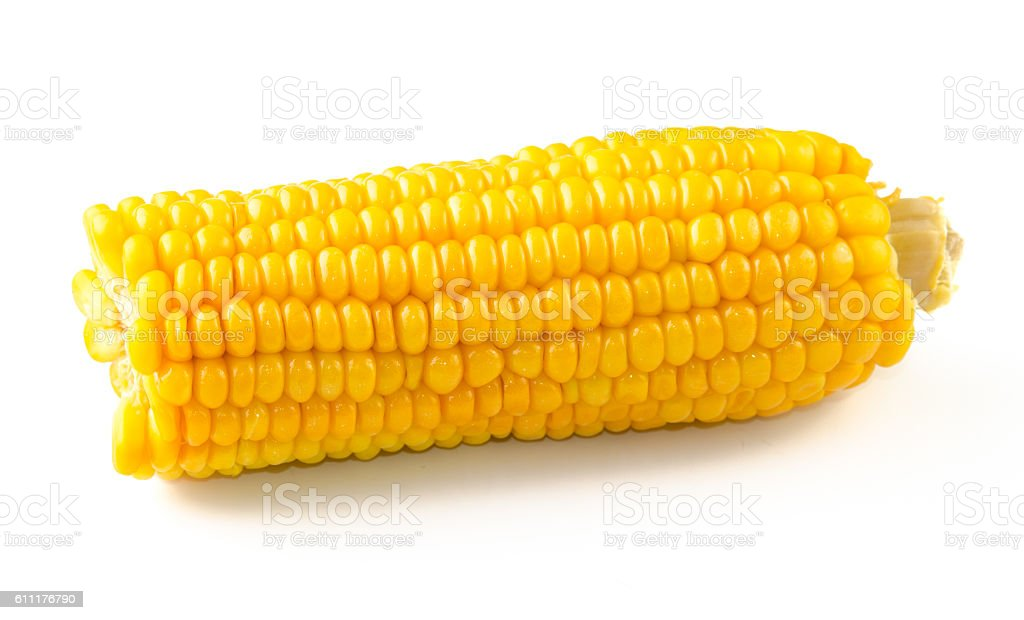 boiled corn isolated on white background. Front view. stock photo