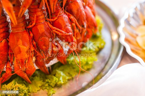 boiled crawfish, buffet restaurant, restaurant, delicacies, Boiled crawfish on a plate, tasty boiled crawfish, snack to beer