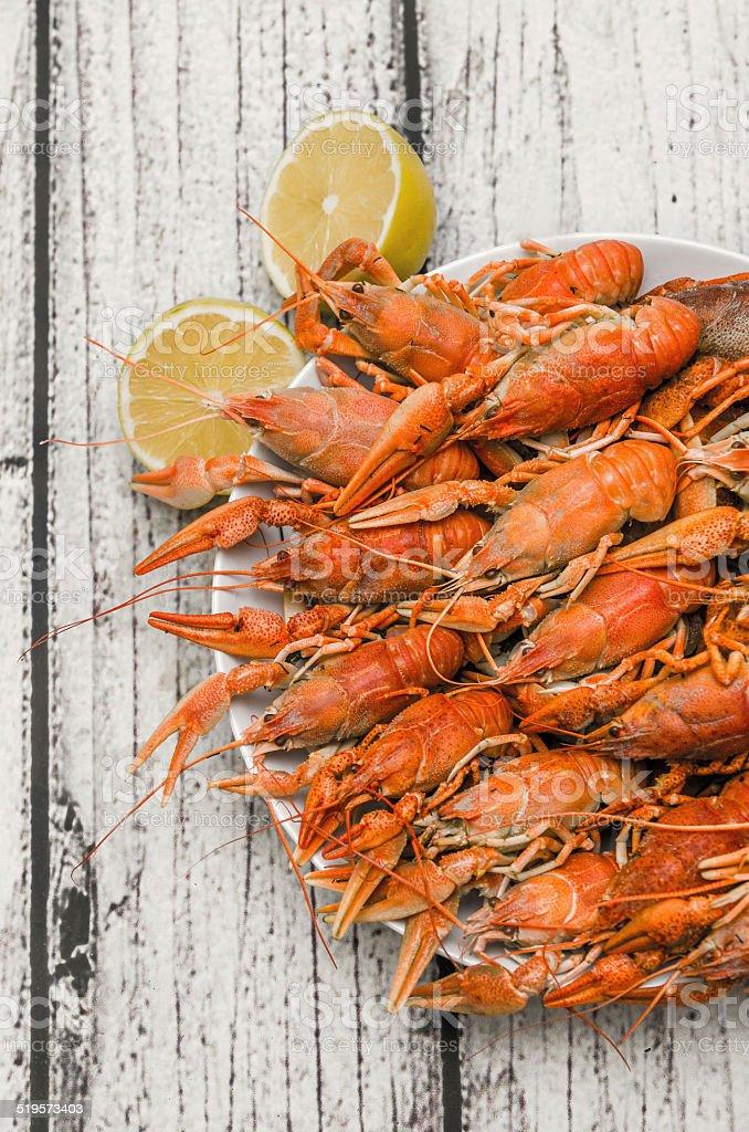 Boiled Crawfish plating stock photo