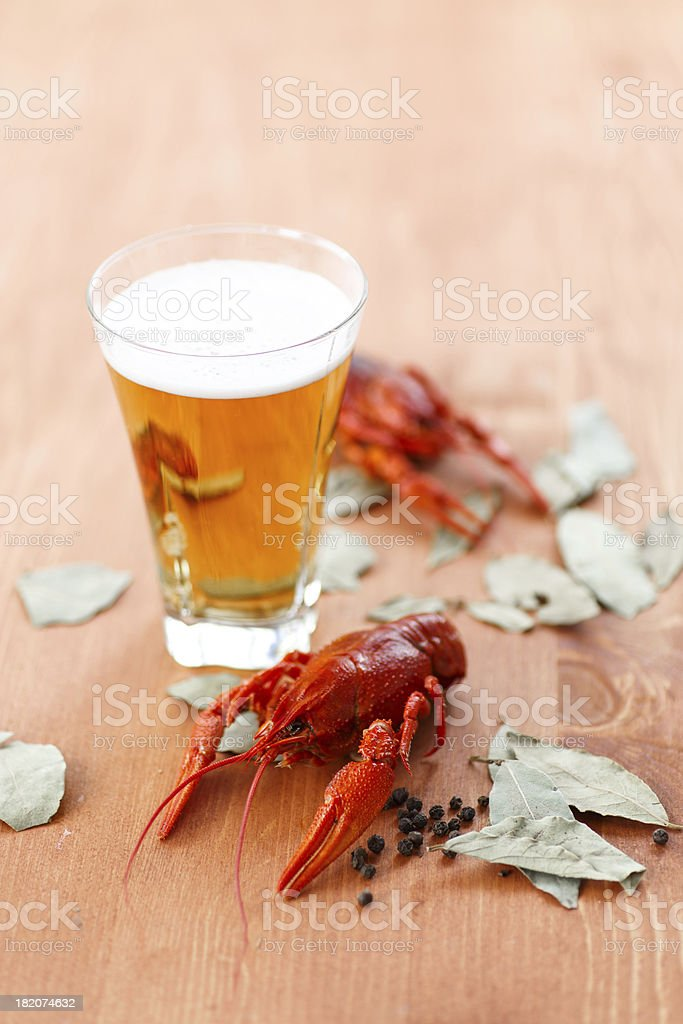 boiled crawfish with beer royalty-free stock photo