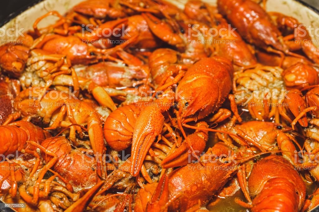 Boiled crawfish with spices. stock photo