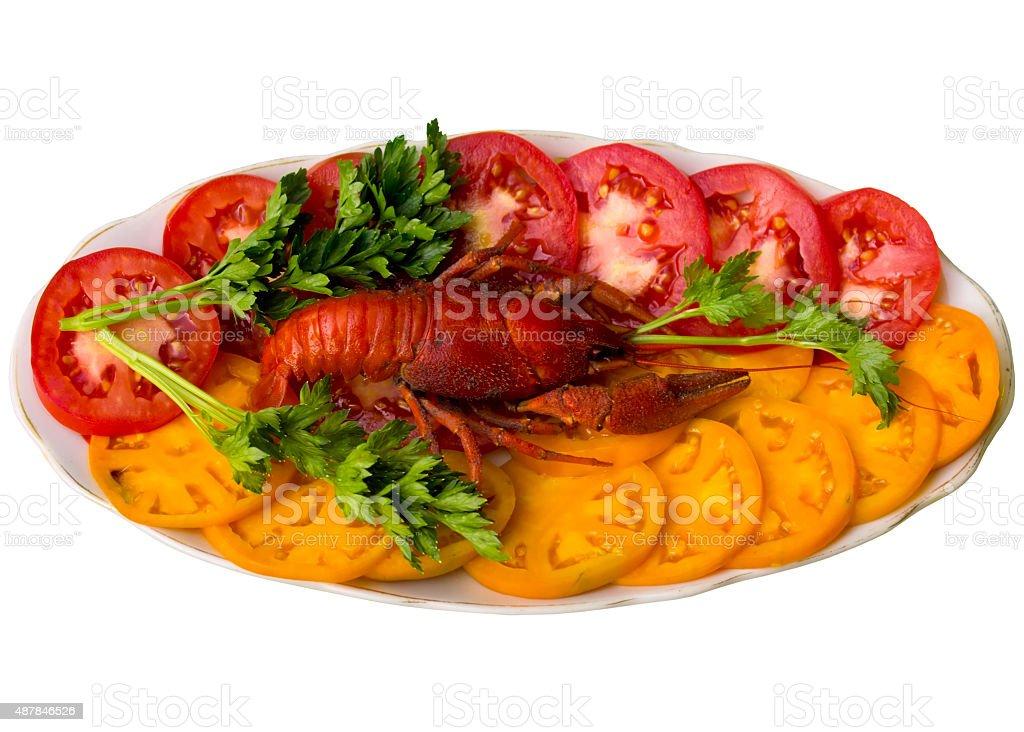 Boiled crayfish closeup. stock photo