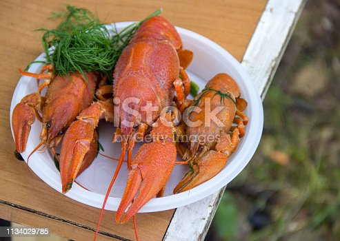 Boiled crayfish on the plate.
