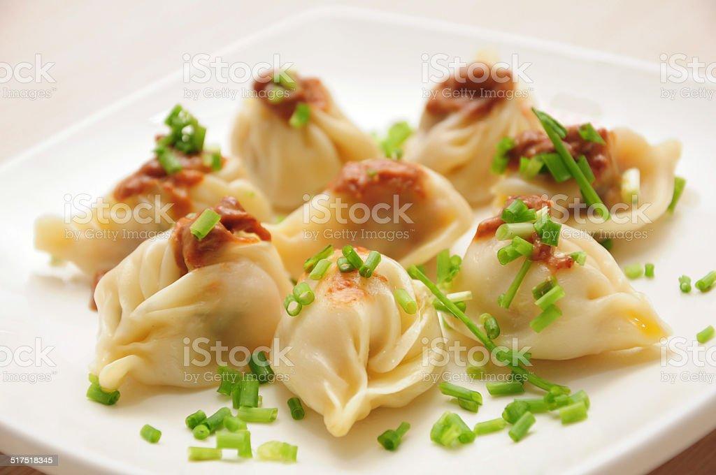 Boiled dumplings stock photo