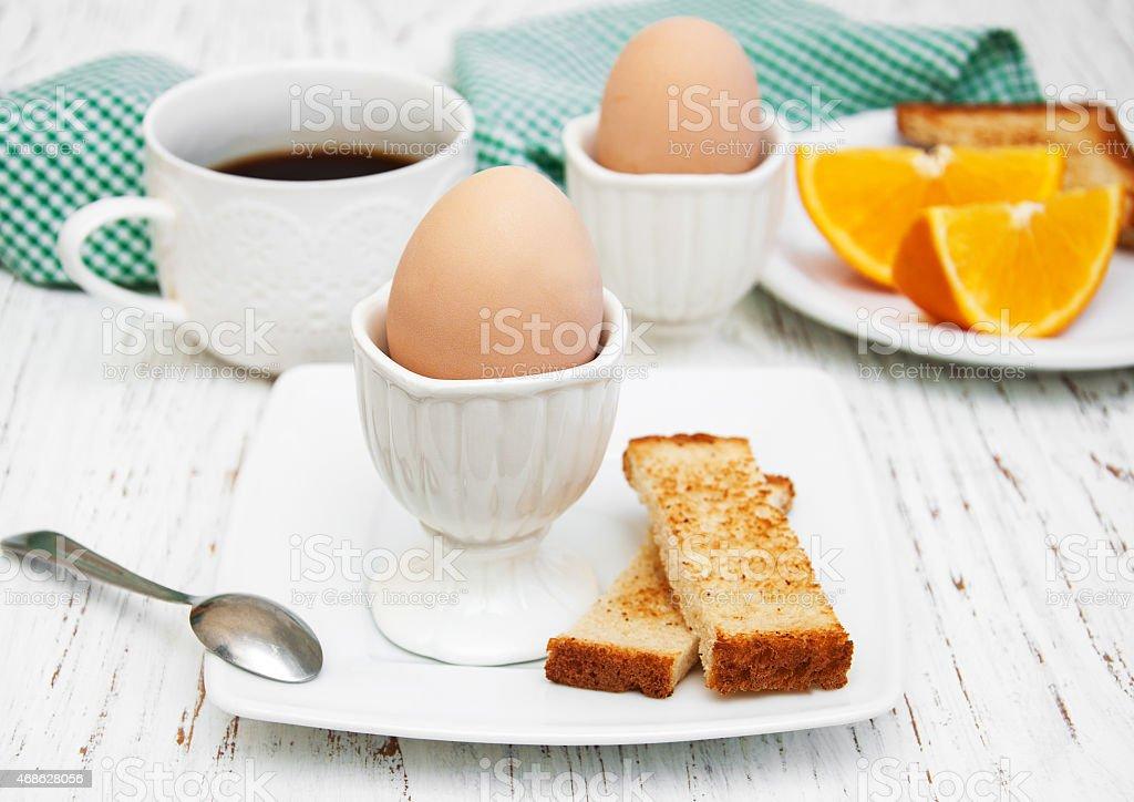 boiled eggs for breakfast stock photo