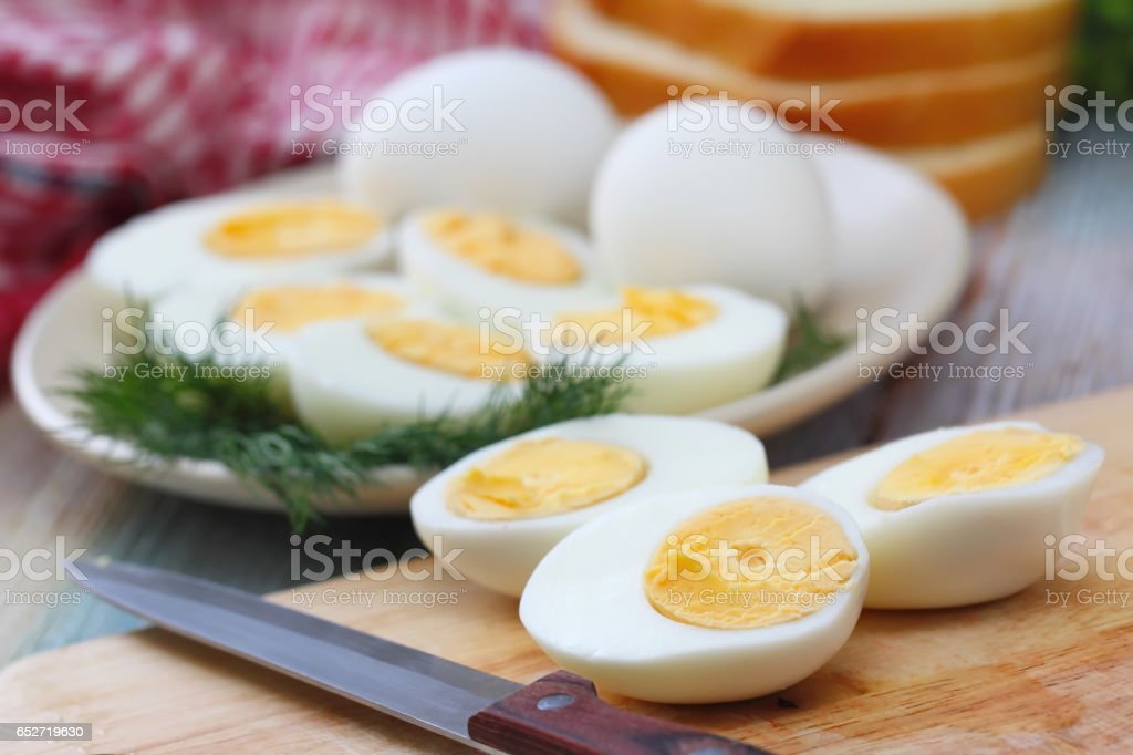 Boiled eggs for salad stock photo