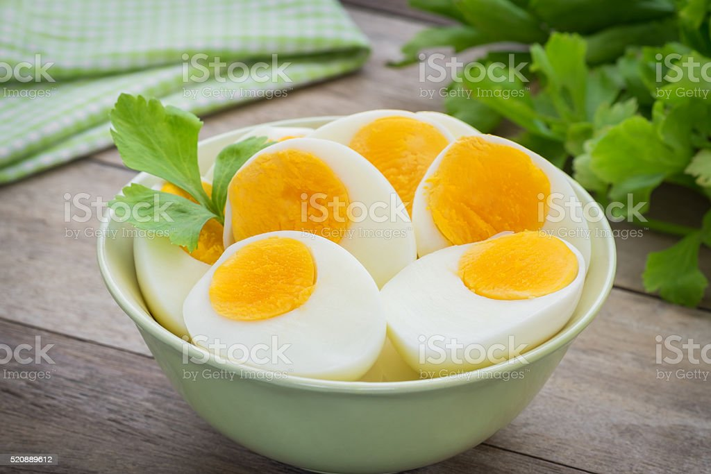 Boiled eggs in bowl stock photo