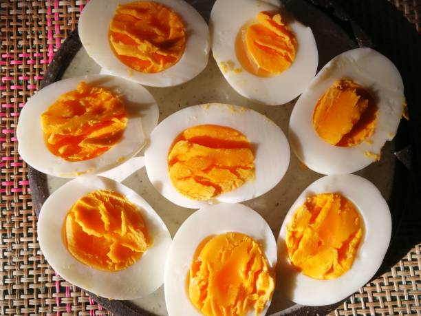 Boiled eggs natural breakfast in the mortning stock photo