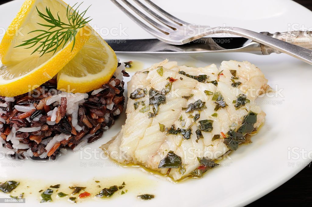 Boiled fish with rice stock photo