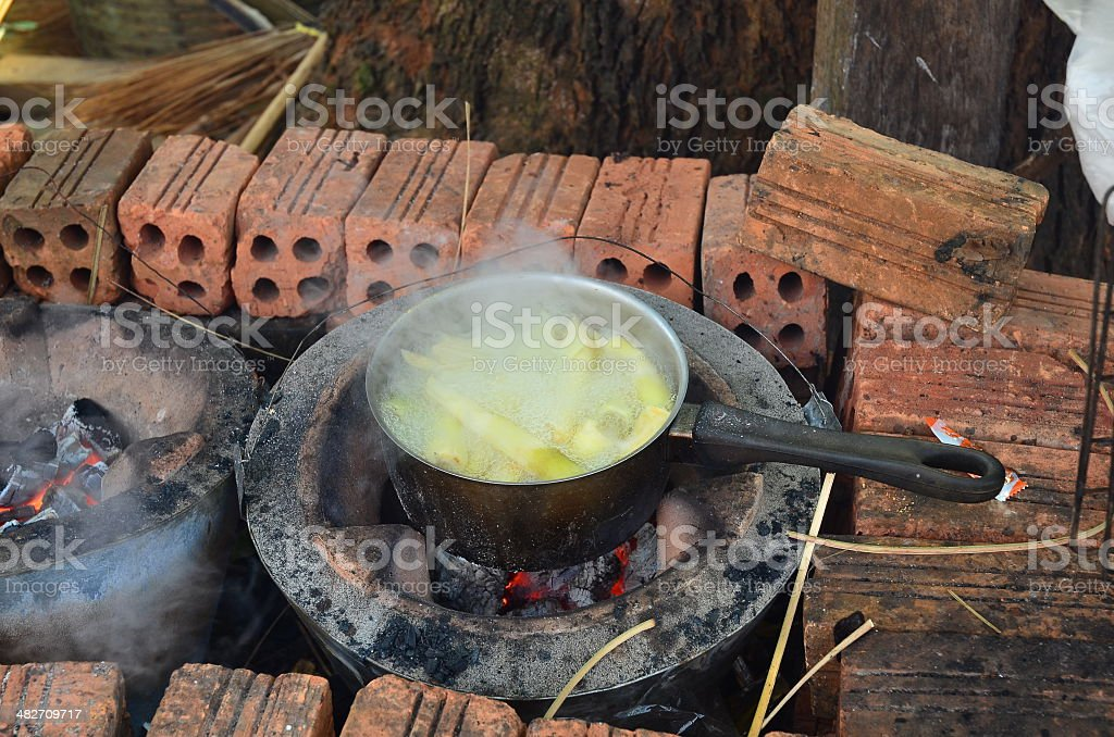 Boiled fresh bamboo shoot on a stove stock photo