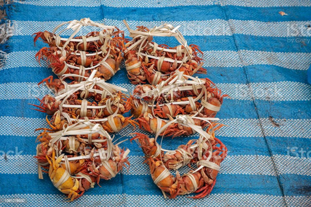 Boiled Freshwater Crabs Stock Photo & More Pictures of Asia
