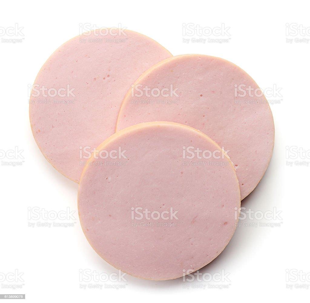Boiled ham sausage isolated on white background stock photo