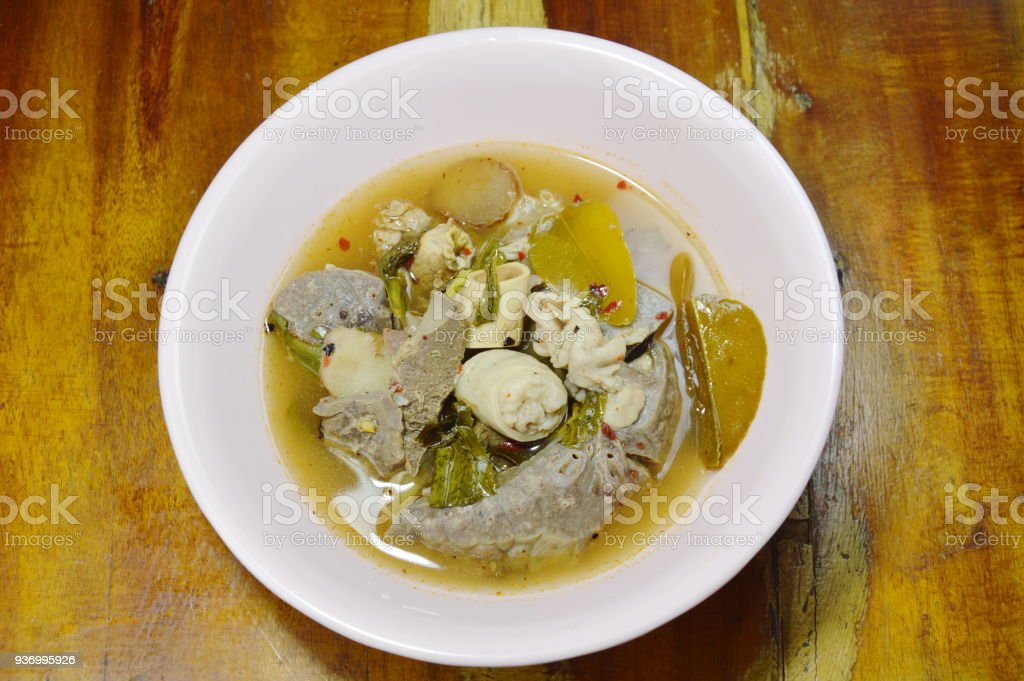 boiled hot and spicy soup with pork entrails stock photo