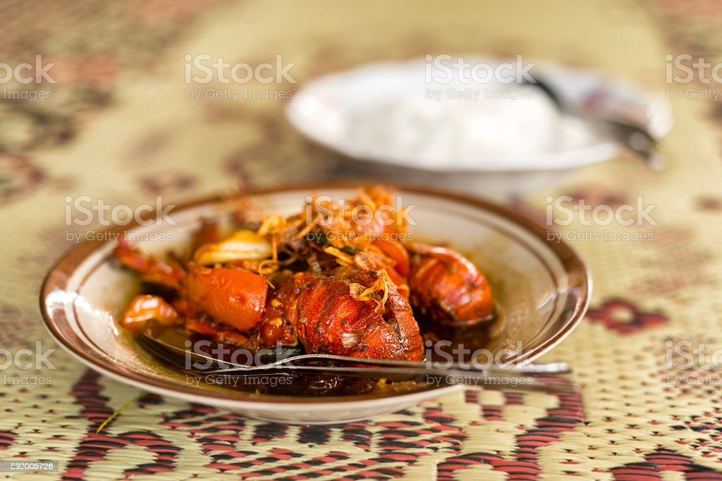 Boiled lobster meal with rice stock photo