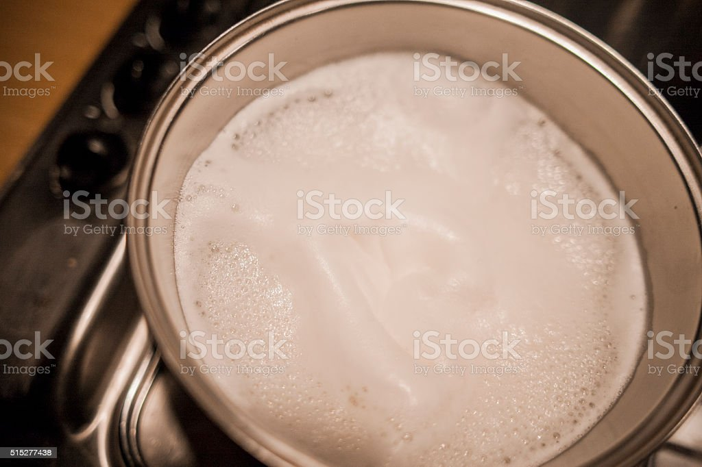 boiled milk stock photo