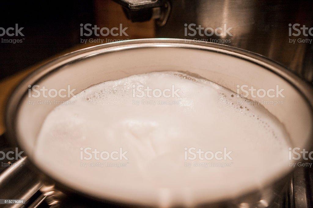 boiled milk stock photo