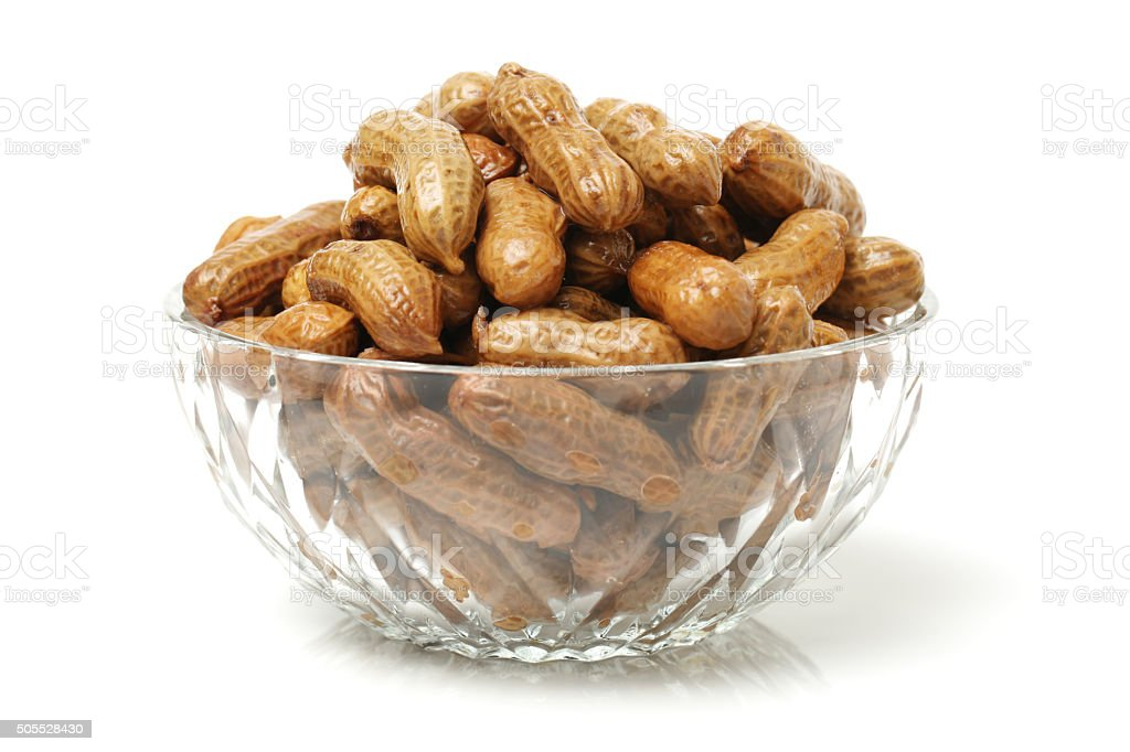 boiled peanuts in a bowl stock photo