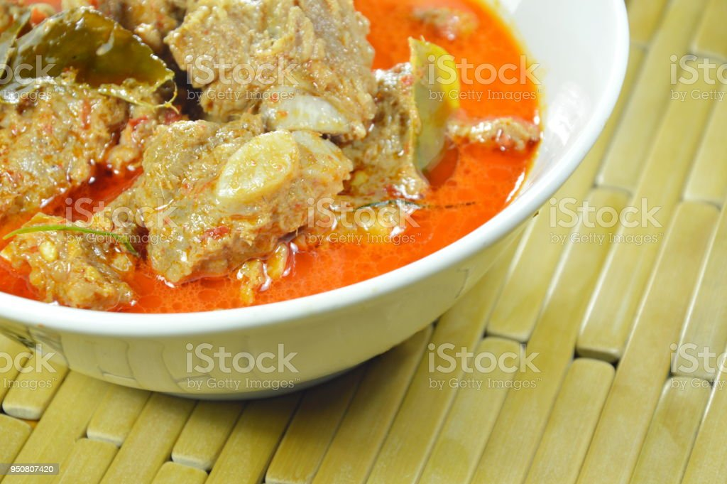 boiled pork rib with coconut milk curry stock photo
