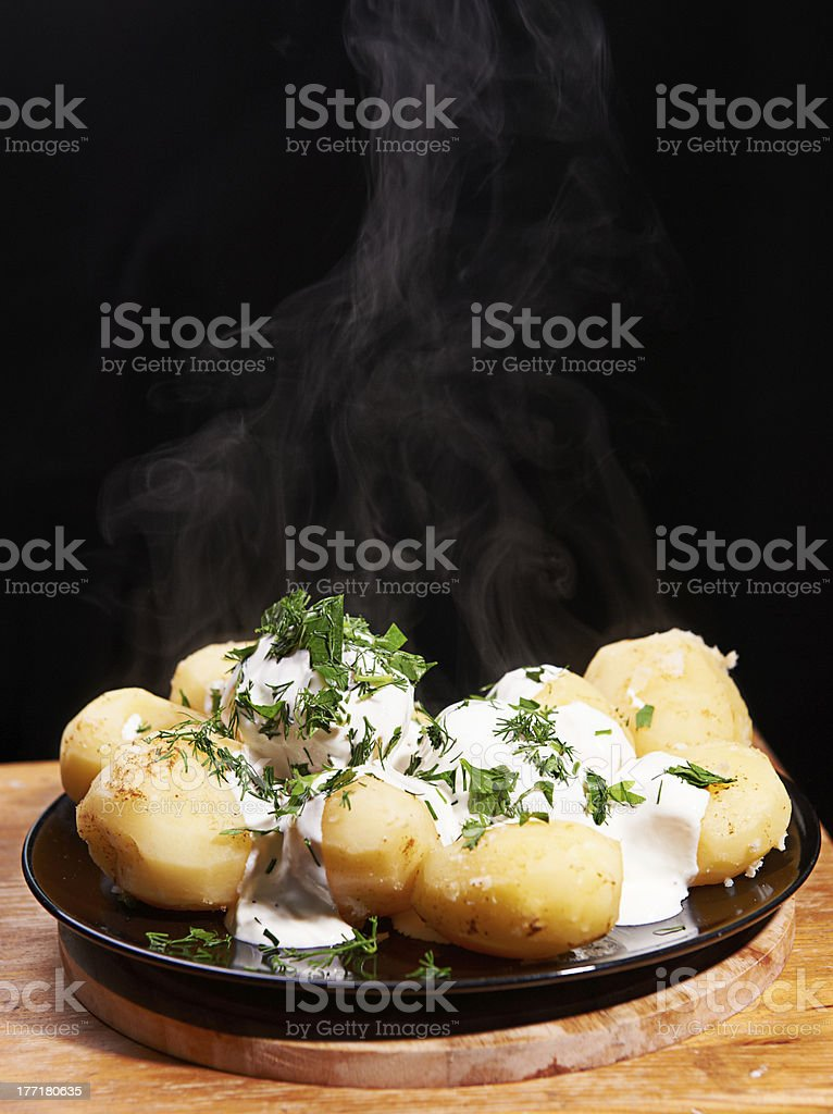 Boiled potato on the plate royalty-free stock photo