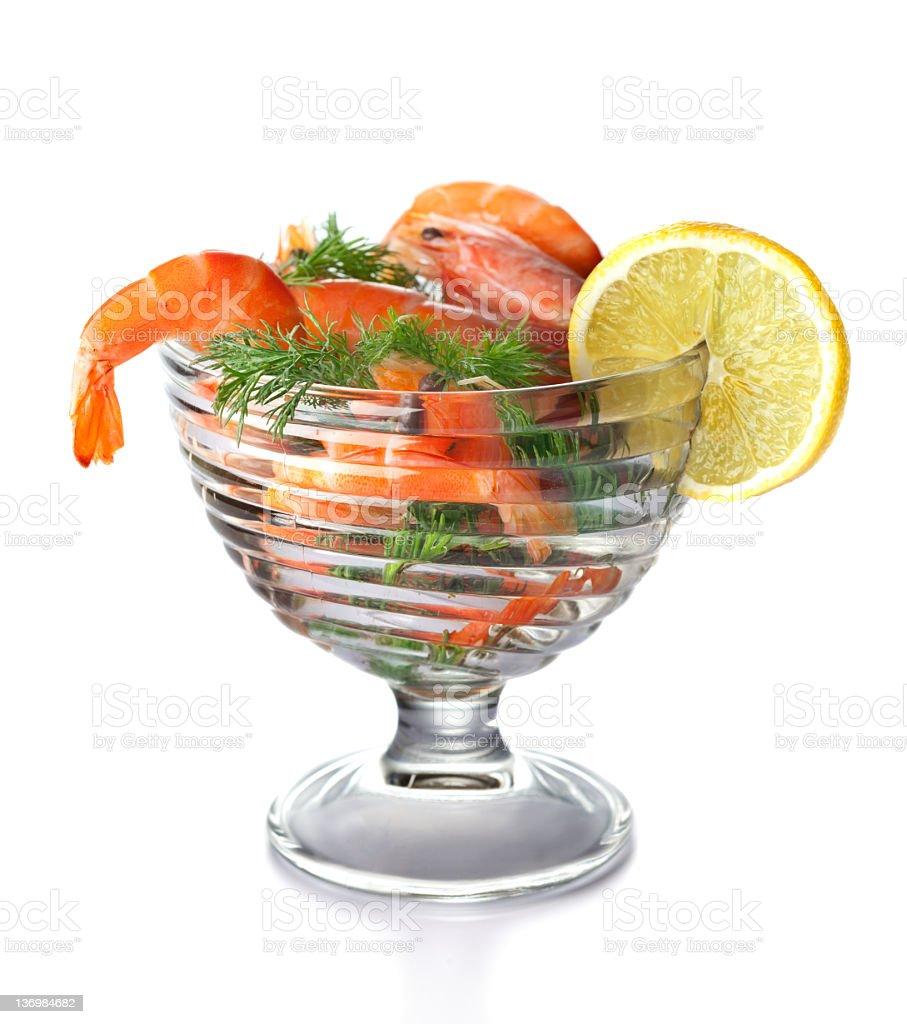 Boiled shrimps stock photo