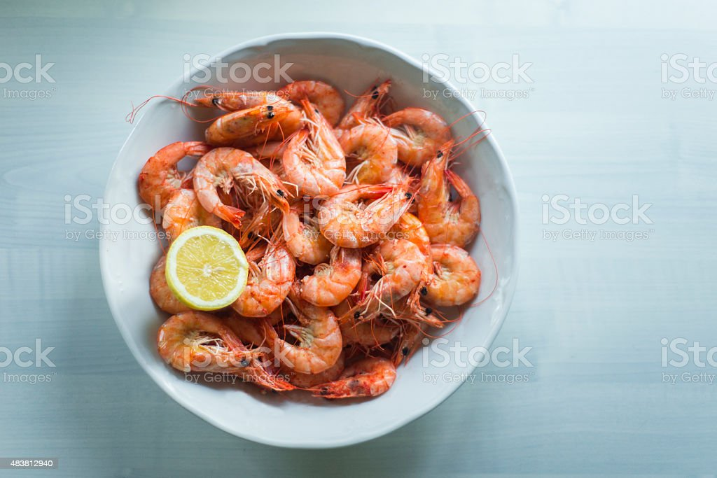 Boiled shrimps stock photo
