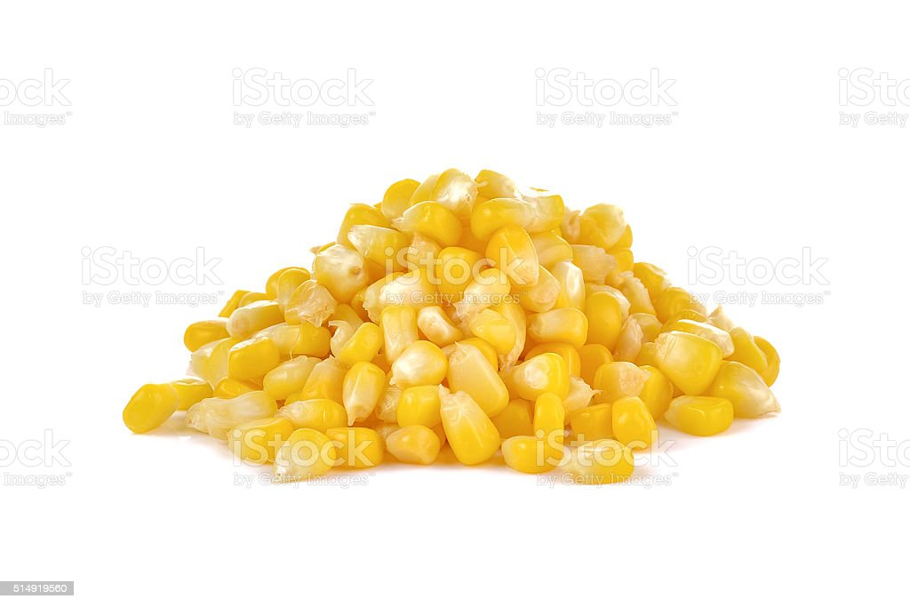 boiled sweet corn on white background stock photo
