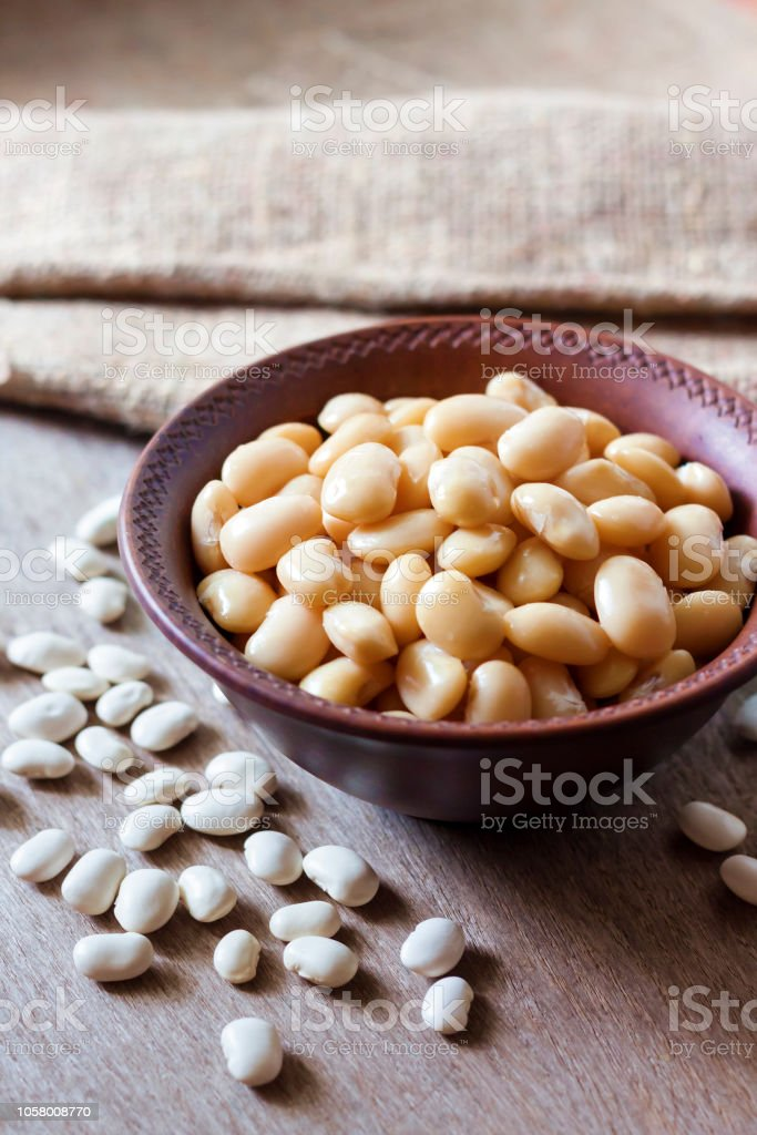 Boiled White Kidney Beans In A Rustic Bowl Stock Photo Download Image Now Istock