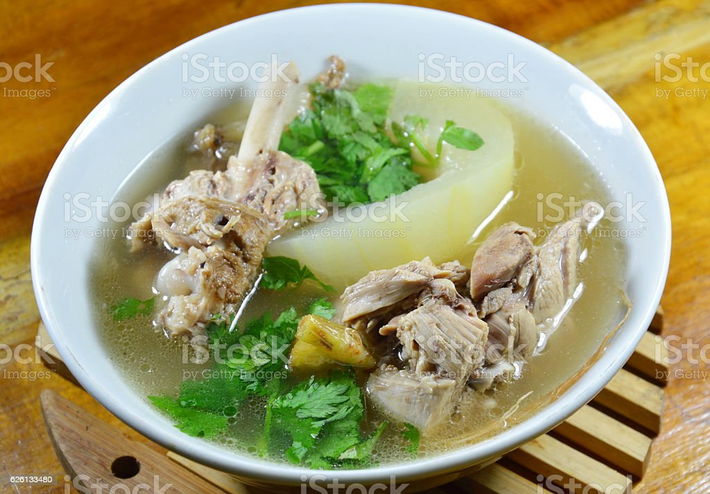 boiled winter melon with duck soup on bowl stock photo