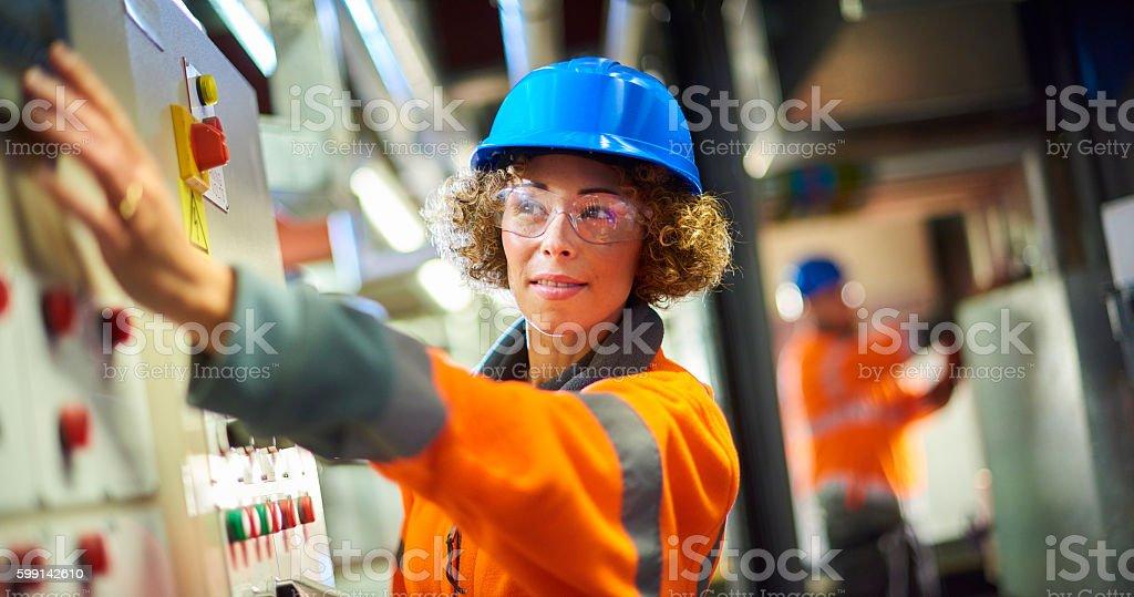 boiler room engineer stock photo