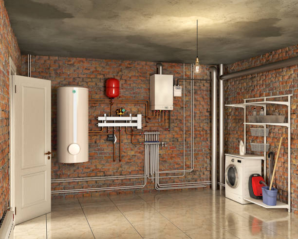 Boiler system and laundry in a basement interior, 3d illustration stock photo