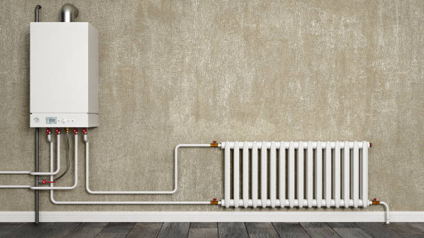 Boiler, water pipes and radiator in front of concrete wall, 3d illustration stock photo
