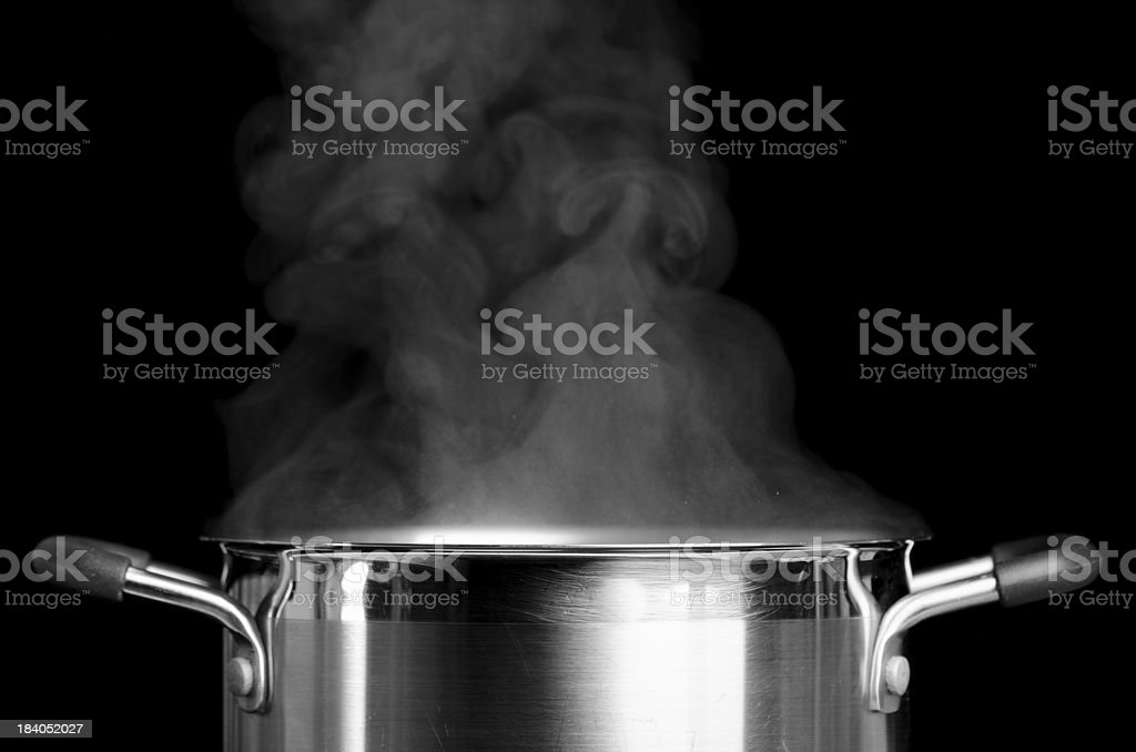 Boiling casserole stock photo