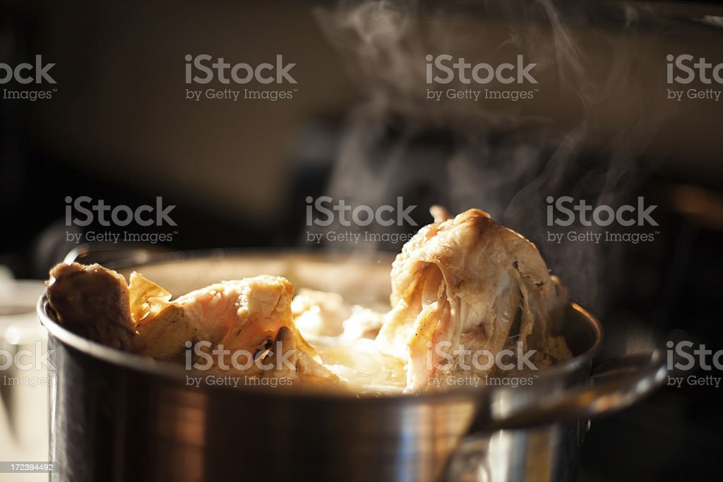 Boiling Chicken Stock stock photo
