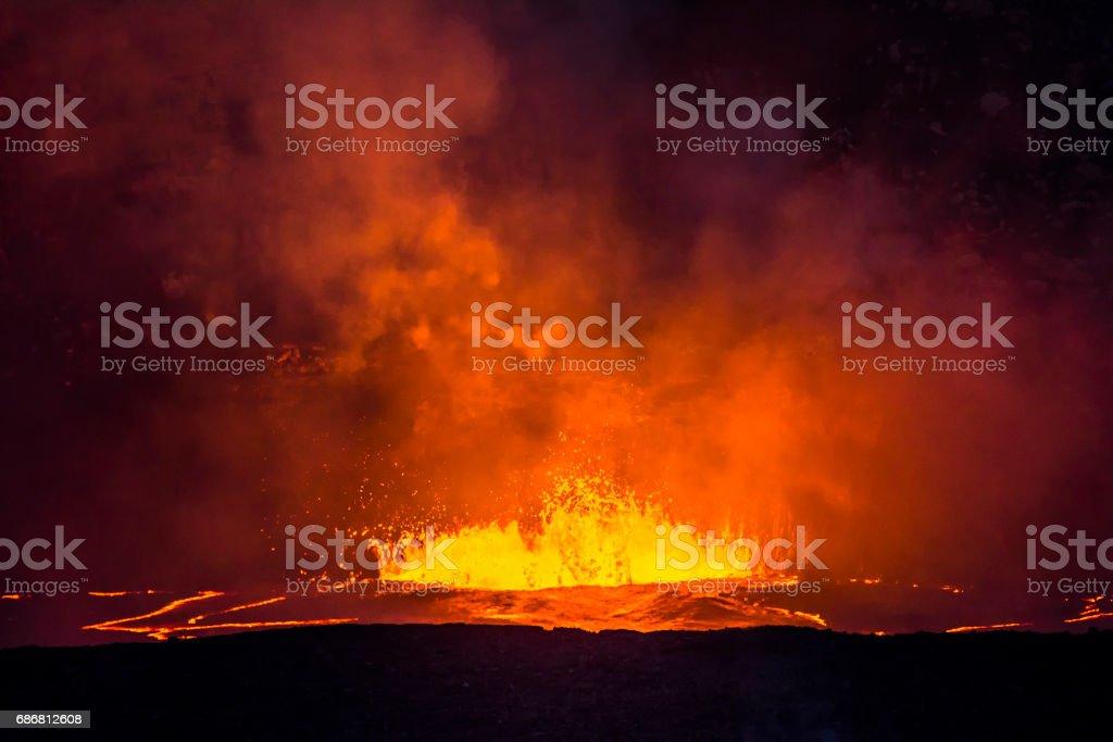 Boiling lava in Kilauea Volcano stock photo