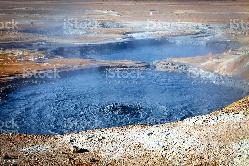 Boiling mud, Hverir, Iceland stock photo