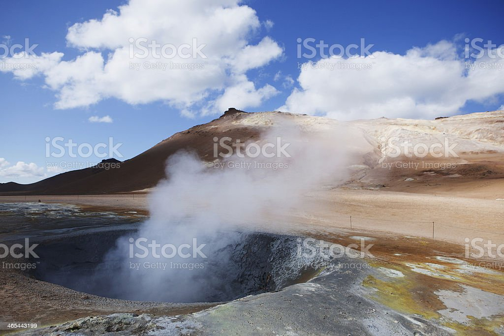 Boiling Mud Pit with Steam - Hverir Hot Springs, Iceland royalty-free stock photo