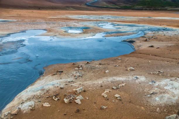 Boiling mud pool in the hverastrond sulphur springs near lake myvatn, iceland stock photo