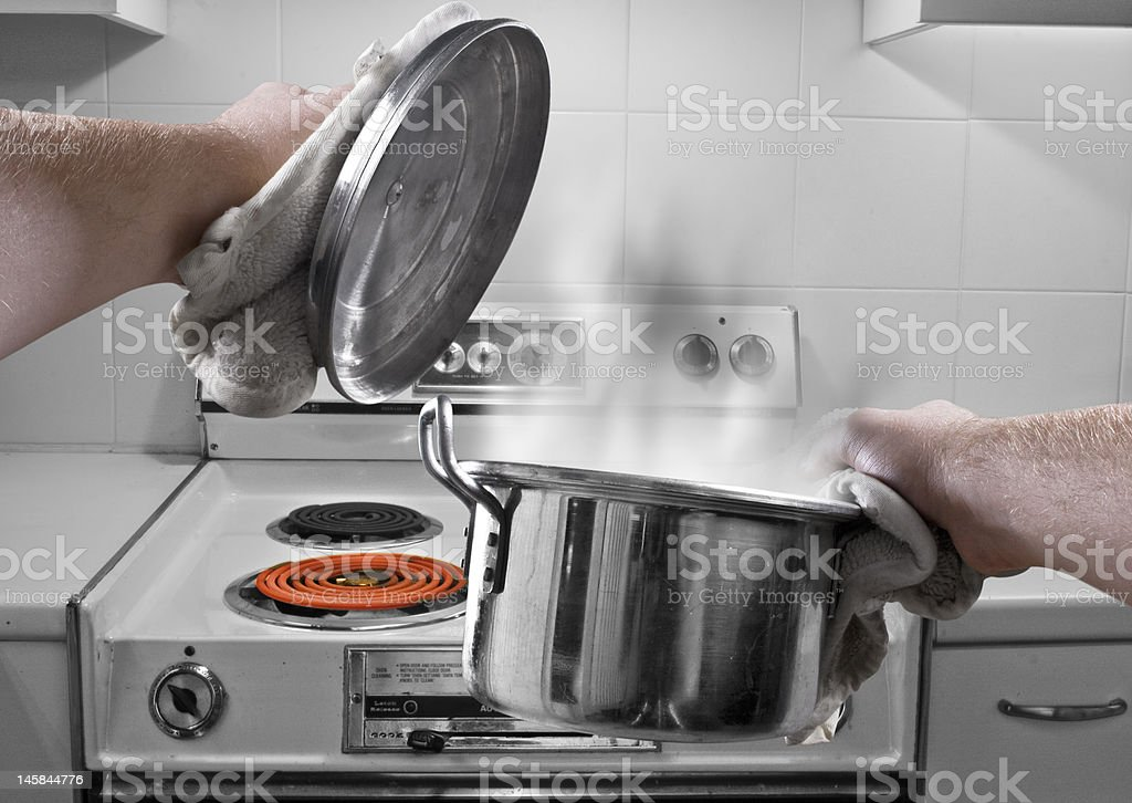 Boiling soup pot stock photo