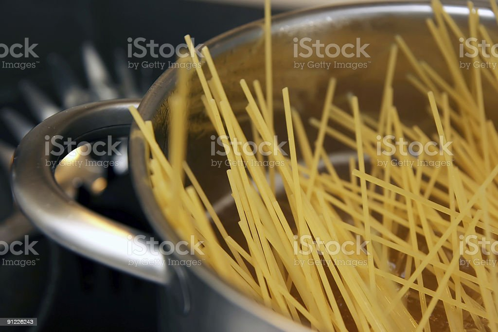 Boiling spaghetti stock photo