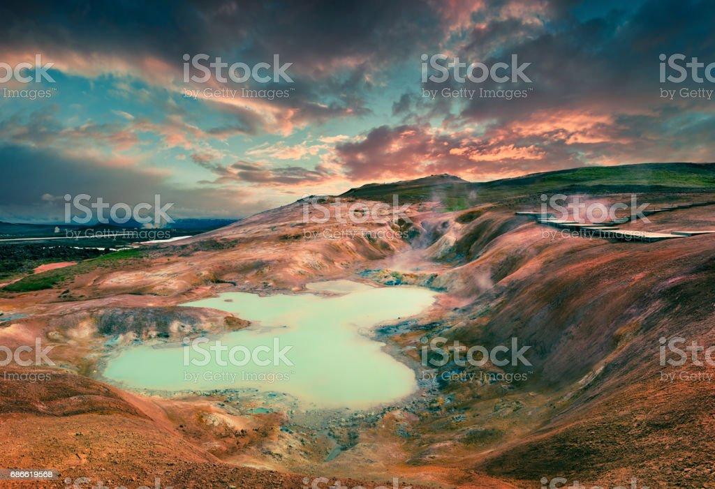 Boiling water lake in the Krafla volcano royalty-free stock photo